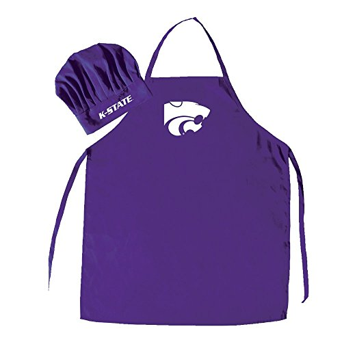 Pro Specialties Group NCAA Kansas State Wildcats Mens Chef Hat & Apron, Full Color Team Logo