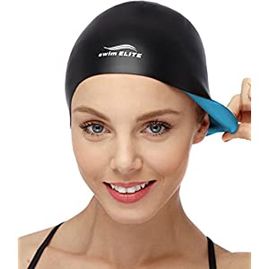 2 IN 1 Premium Silicone Swim Cap Reversible Wear It On Both Sides Wrinkle Free Swimming Cap For Men and Women Best For Short and Medium Length Hair