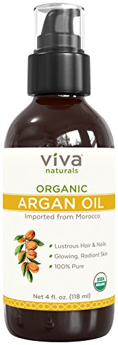 Viva Naturals Organic Argan Oil - 100% Pure & Cold Pressed, Natural Moisturizer for Face and Hair and Great for all Skin DIYs (Polishes, Masks, Body), 4 oz