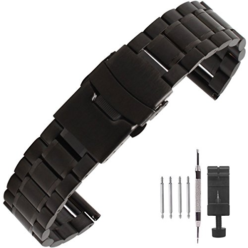 Mens Stainless Steel Series Watch - Weelovee Premium Stainless Steel Watch Band 18mm/20mm/22mm/24mm,Double Locking Clasp Strap Wristband,Solid Metal Bracelet Replacement,Repair Tool Included Black for Women Mens