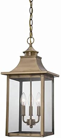 Acclaim 8316AB St. Charles Collection 3-Light Outdoor Light Fixture Hanging Lantern, Aged Brass