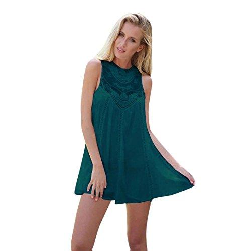 Stitching Green Floral Sundress Mini Nuoinet Sleeveless Lace Boho Women Chiffon Dress Summer Beach for RCwx4qp0