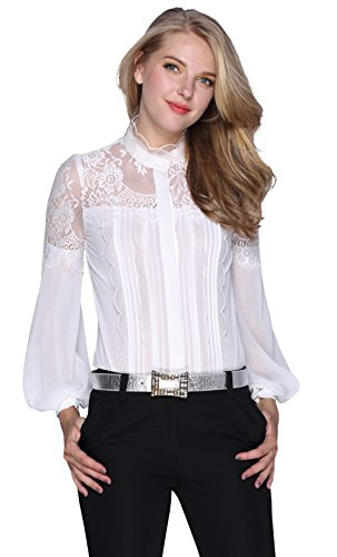 Stand Ruffle Shirt Collar (DIFANER Women Blouses Lace Ruffle Neck Balloon Long Sleeve Stand Collar Button-Down Shirts White Color Tops Bodysuit)