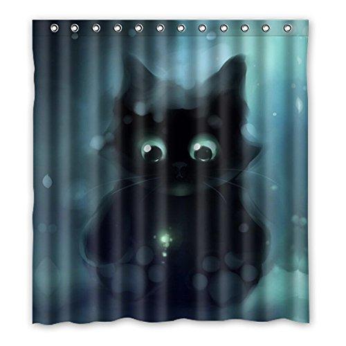 DONGMEN Custom Galaxy Space Cat Shower Curtain Waterproof Polyester Hooks 66