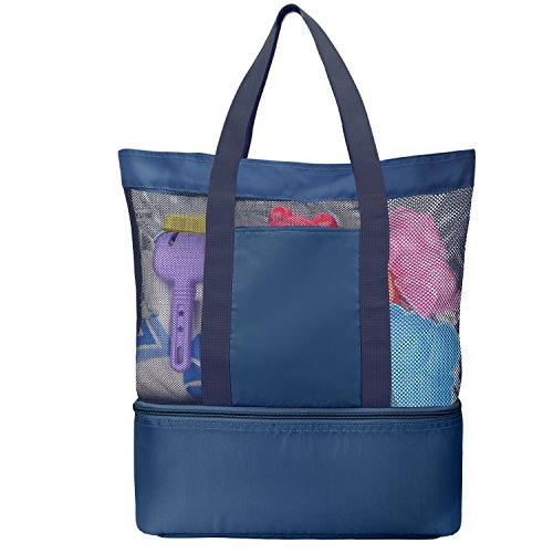 Luxspire Mesh Beach Bag, Zipper Top with Insulated Picnic Cooler Outdoor Tote Bag, Indigo