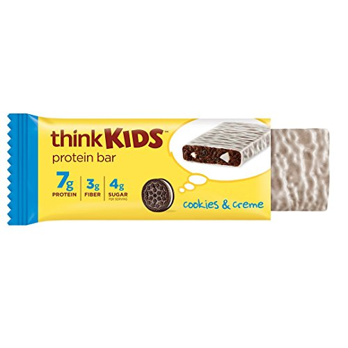 Protein Bars for Kids by ThinkKids - Snack Size for On The Go, 7g Protein, Gluten Free, GMO Free, No Artificial Colors or Flavors - Cookies & Creme (5 Bars)