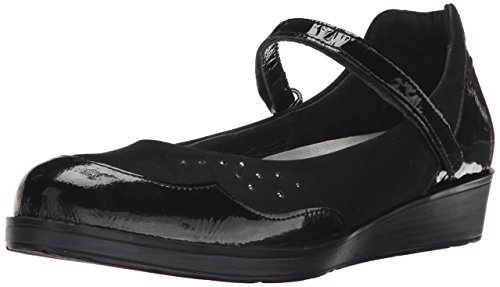 NAOT Womens Sincere Flat Black Crinkle Patent Leather/Black Velvet Nubuck/Black Crinkle Patent zEueZQ