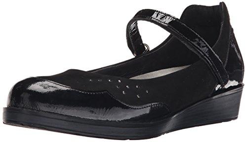 Naot Women's Sincere Flat, Black Crinkle Patent Leather/Black Velvet Nubuck/Black Crinkle Patent, 38 EU/6.5-7 M US