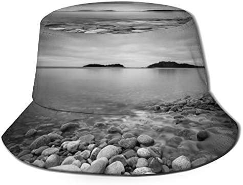 Junkai 黒と白 ビーチ シースケープ 日の出風景 バケットハット 男女兼用帽子 UV 翼幅広 紫外線対策 日よけ 小顔効果