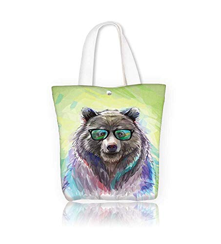 Canvas Zipper Tote Bag Cool low poly hipster animal bear portrait Low poly spectacledbear with fluffy fur Reusable Canvas Zipper Tote Bag Printed 100% Cotton W17.7xH14xD7 INCH]()