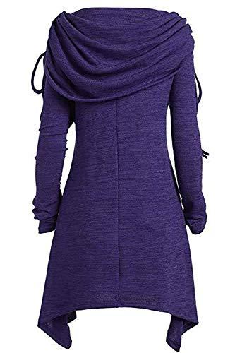 Yacun Manga Mini Blusa Para Túnica Mujer Larga Vestido Sudadera De Púrpura RqUqrYwx8n