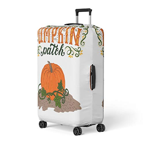 Pinbeam Luggage Cover Text Pumpkin Patch Halloween Sign Vintage Farm Fresh Travel Suitcase Cover Protector Baggage Case Fits 18-22 inches -