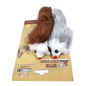 Petlicious & More Real Fur Mouse Cat Toy – Pack of 2