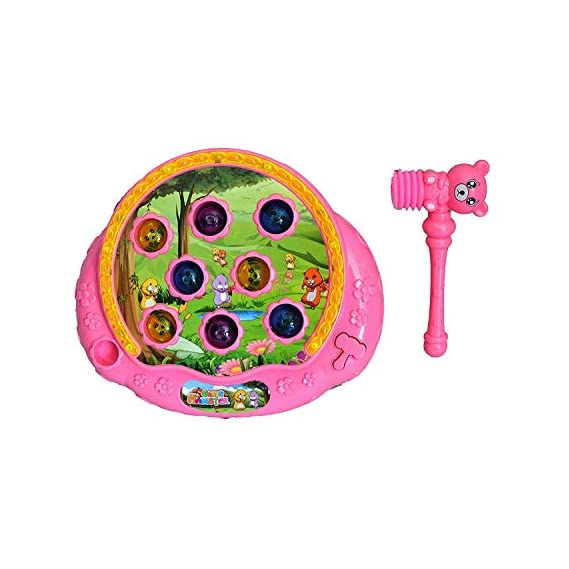 Toyzilla Crazy Hamster Attack Game Hammer Game Knocking Toys for Children Playtime (Pink)