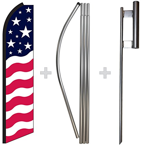 Deluxe Flagpole - USA American Flag Swooper Feather Flag, Flagpole, & Ground Spike Kit