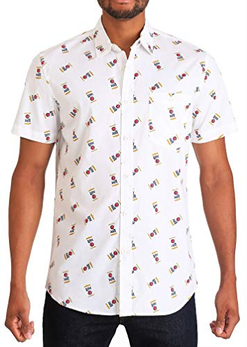 Miller Lite Logos - Miller Men's Can Button Up Woven Shirt with Logo Pattern, White, Large