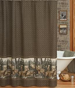 Whitetail Dreams Deer Print Shower Curtain And One Matching Window Valance 1