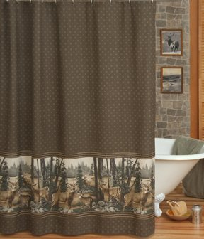 Merveilleux Whitetail Dreams   Deer Print   Shower Curtain And Matching Window  Valance/Drape Set (