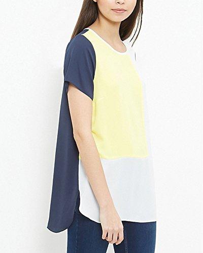 Camicetta Manica O Collo Top T Blusa Chiffon Giallo Elegante Shirt Donna Casual Camicia Maglia PengGeng Corta vxXzPz