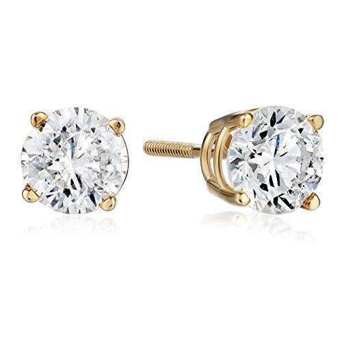IGI-Certified 14k Gold Round-Cut Diamond Stud Earrings (1 1/2 cttw, I-J Color, I1-I2 Clarity)