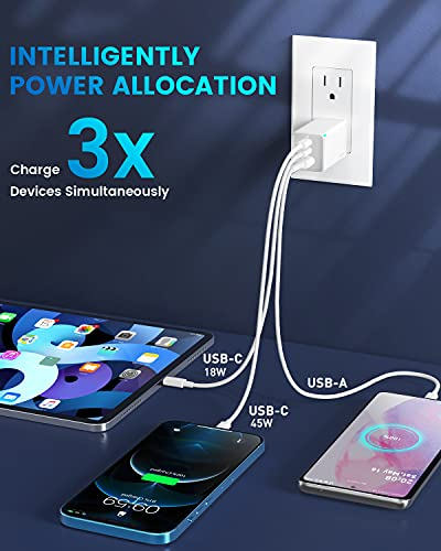 USB C Charger, Baseus 65W 3 Port Foldable USB C Wall Charger, Fast USB C Charger Block for iPhone 12/12 Mini/12 Pro/12 Pro Max/SE/11/XR/XS, Samsung, MacBook Pro/Air, iPad, Laptops, White