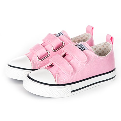 Weestep Toddler Little Kid Boy and Girl Classic Adjustable Strap Sneaker (8 M US Toddler, Pink)