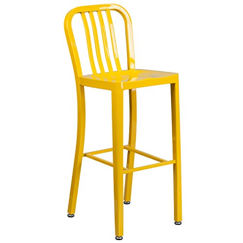Flash Furniture CH-61200-30-YL-GG 30'' High Yellow Metal Indoor/Outdoor Barstool with (Living Room Metal Bar Stool)