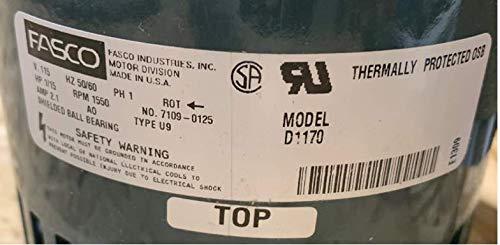 FASCO MOTOR D1170 HP 1/15 AMPS 2.1 115V 50/60 HZ 1550 RPM 1 SD on