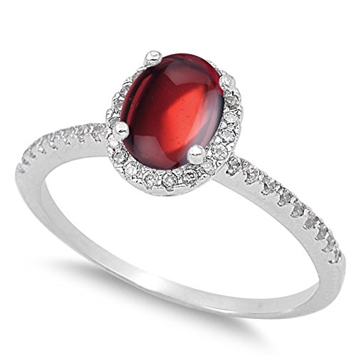 - 925 Sterling Silver Cabochon Natural Genuine Red Garnet Oval Halo Ring Size 4