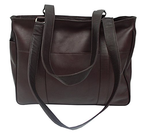 Piel Leather Small Shopping Bag, Chocolate, One Size Chocolate Leather Zip Hobo Bag