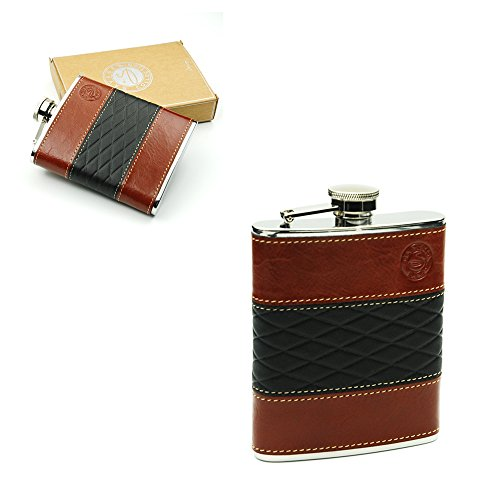 Savage 6oz Hip Flask 18/8 Stainless Steel Wrapped Black and Burgundy Genuine Leather