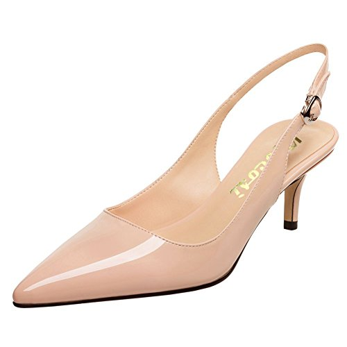 Low Heel Pointy Toe (VOCOSI Slingbacks Pumps For Women,Low Kitten Heels Comfortable Pointy Toe Pumps Shoes Nude 9 US)