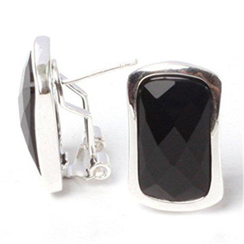 GEM-inside Earrings Black Agate Gemstone Beads Rectangle Facted Tibetan Silver Dangle Stud Hoop Fashion Jewelry for Woman -