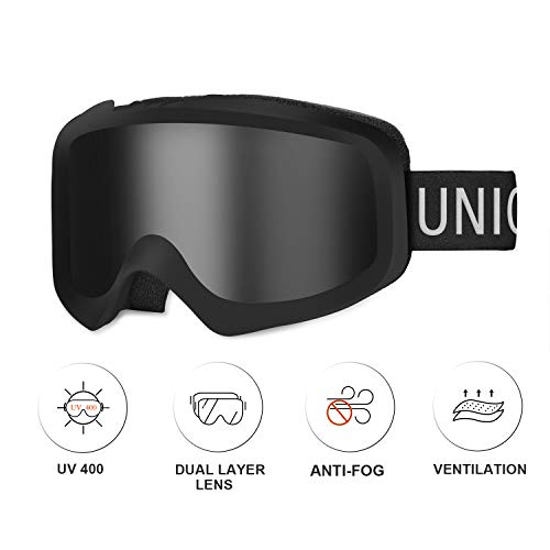Unigear Skido X1 Ski Goggles, Snowboard Snow Goggles for Men, Women & Youth - Anti-Fog & 100% UV Protection (Silver Lens (VLT 16.1%)) (Best Snowmobile Goggles For Night)