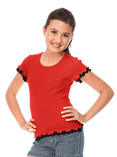 Kavio! Big Girls 7-16 Lettuce Edge Short Sleeve Top Red/Black XL