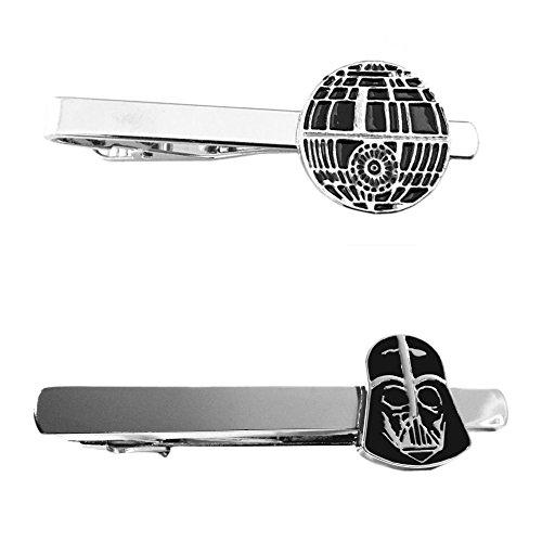 Outlander Star Wars - Death Star & Darth Vader - Tiebar Tie Clasp Set of 2 Wedding Superhero Logo w/Gift Box by Outlander