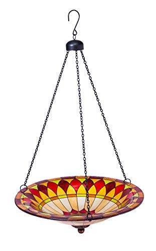 Evergreen Colorful Hanging Glass Birdbath