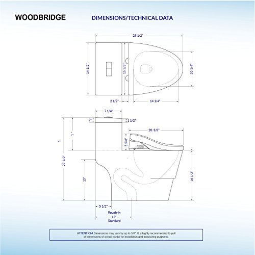 WoodBridge T-0008 Luxury Bidet Toilet, Elongated One Piece Toilet with Advanced Bidet Seat, Smart Toilet Seat with Temperature Controlled Wash Functions and Air Dryer by Woodbridgebath (Image #7)'