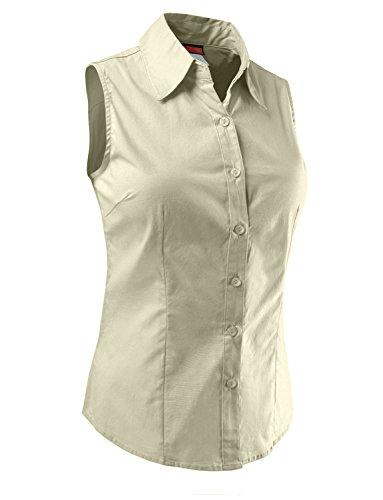 RubyK Womens Lightweight Cotton Sleeveless Button Down Shirt