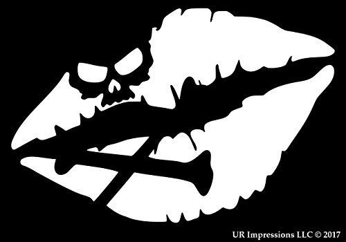 Skull Crossbones Kiss of Death Lips Decal Vinyl Sticker Graphics for Cars Trucks SUV Vans Walls Windows Laptop|White|5.5 X 4 Inch|URI340-W (Little Minerals Kisses Lipstick)