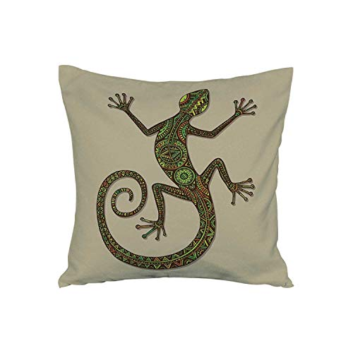 ALUONI Reptiles Soft Car Waist Throw Cushion,Ornamental Colorful Lizard with Ethnic Patterns Moving Around Exotic Creature Decor for Car,15
