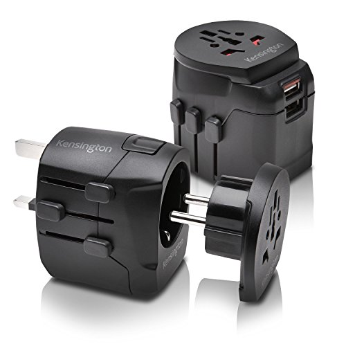 Kensington International Grounded 3 Prong Travel Adapter with Dual 2.4A USB Ports, Black - Supply Kensington Power