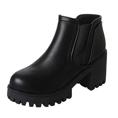 HebeTop Women's Wide Width Chelsea Ankle Boots, Low Heel Slip on Casual Cozy Winter Booties Black