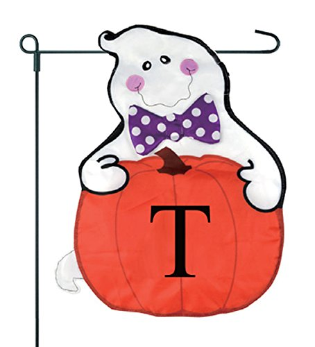 JEC Home Goods Home Garden Flag Ghost Monogram Halloween Garden Flag 12.5 x 18 With Pumpkin (T) ()