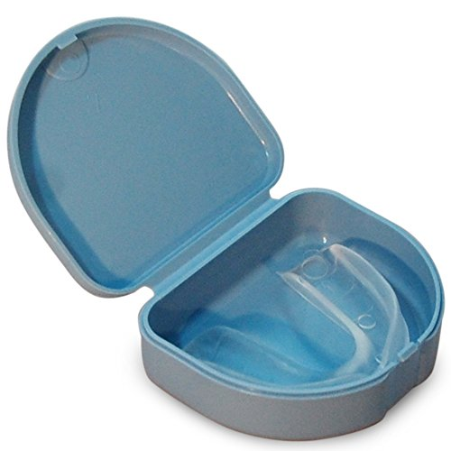 Sports Martial Arts (Martial Arts Mouthguard and Case - Martial Arts Mouth Guard and Case Set (Light Blue Holder and Clear Mouth Guard) One Size Fits All MMA Mouthguard Boxing Mouth Guard Adults and Children)