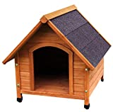 HiCaptain A-Frame Wooden Dog House Deluxe Natural Solid Cedar Pet Kennel (M:31x 35x 31 Inch)