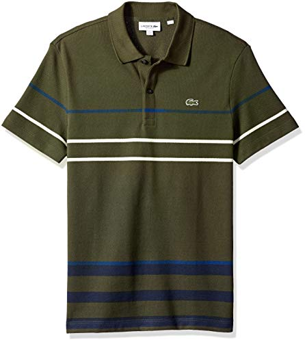 Lacoste Men's Short Sleeve REG FIT Striped Colorblock Pique Polo, Baobab/Meridian Blue/INKW, Large