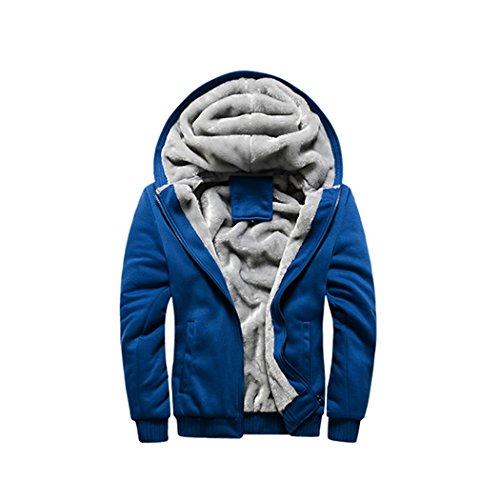 Faux Fur Hoody Hoodie Sweater - Rocky Sun Men Winter Hooded Jacket Hoodie Faux-Fur Lined Warm Coat Blue 2XL