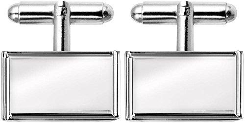 (Orton West Mens Rhodium Plated Engraved Edge Rectangular Cufflinks - Silver)