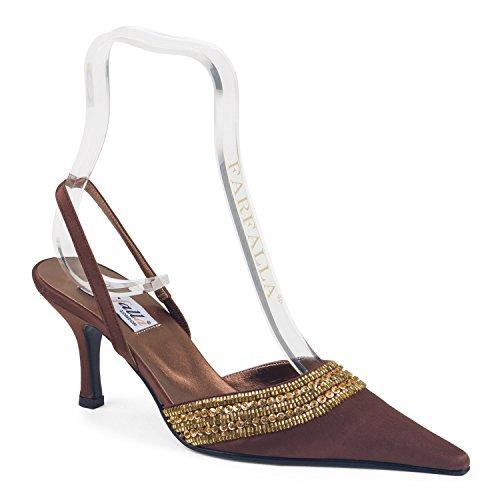 FARFALLA - Zuecos de Satén para mujer marrón